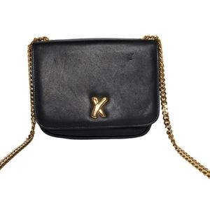 Paloma Picasso Black Leather Gold Chain Crossbody